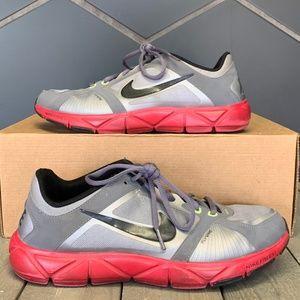 Womens Nike Flywire Training Grey Red Shoe Sz 9.5